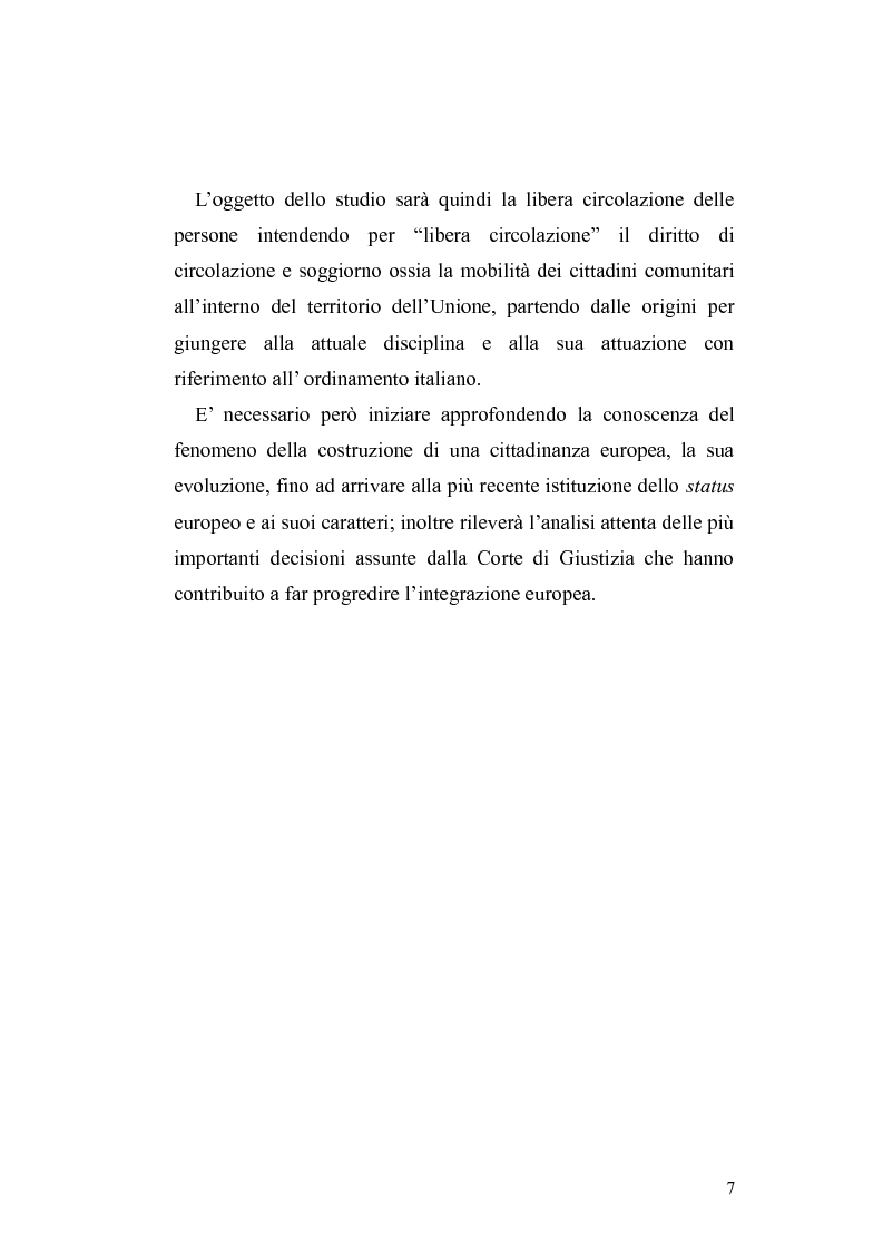 Anteprima della tesi: Il diritto di circolazione e soggiorno dei cittadini dell'Unione Europea, Pagina 3