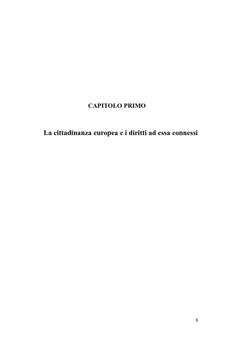 Anteprima della tesi: Il diritto di circolazione e soggiorno dei cittadini dell'Unione Europea, Pagina 4