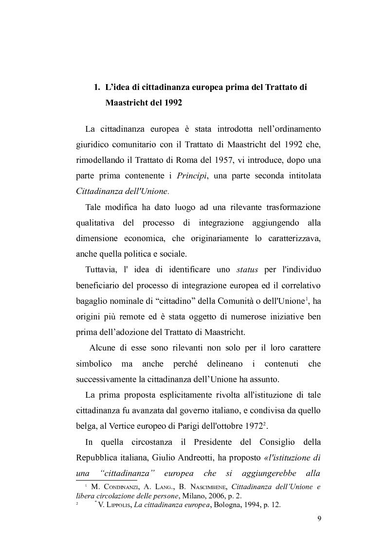 Anteprima della tesi: Il diritto di circolazione e soggiorno dei cittadini dell'Unione Europea, Pagina 5