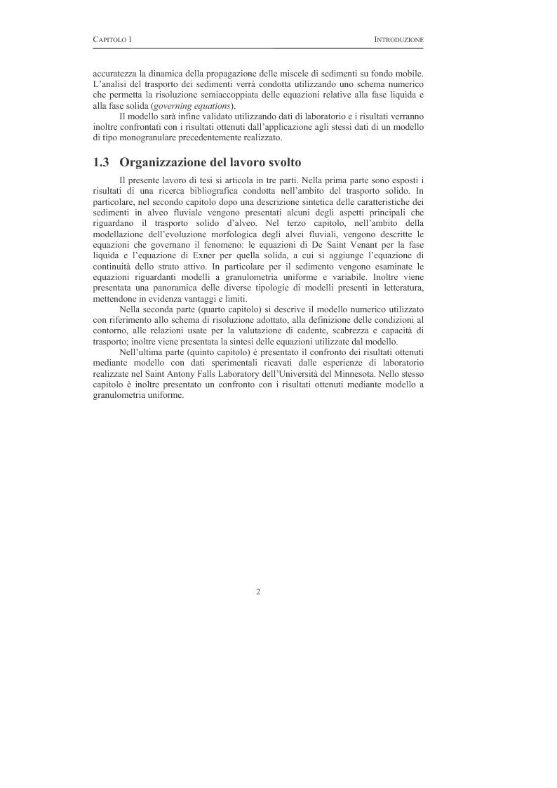 Anteprima della tesi: Elaborazione e validazione di un modello numerico per lo studio del trasporto di sedimenti a granulometria non uniforme, Pagina 1