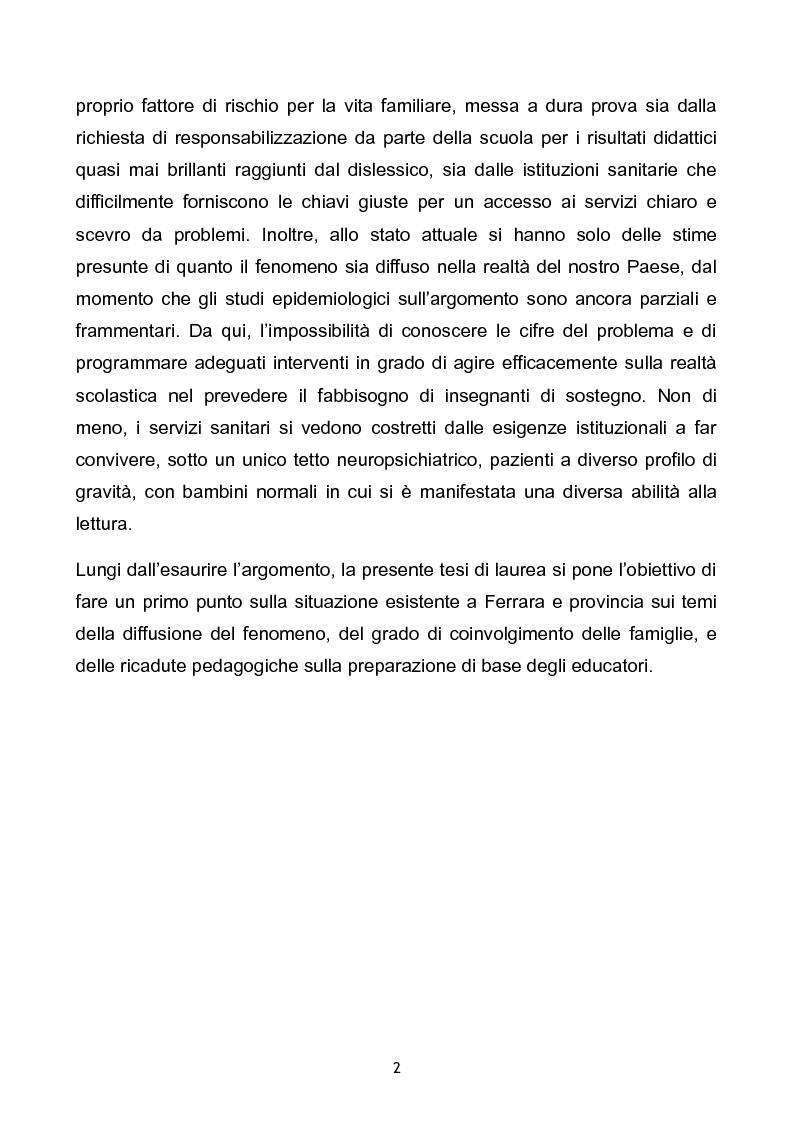 Anteprima della tesi: Prevalenza dei disturbi specifici dell'apprendimento nella popolazione scolastica di Ferrara e provincia. Problemi aperti e soluzioni a confronto., Pagina 2