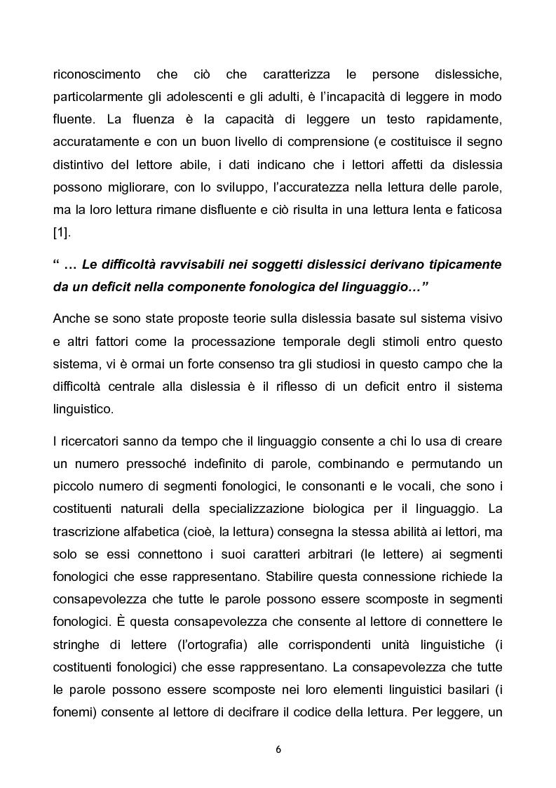 Anteprima della tesi: Prevalenza dei disturbi specifici dell'apprendimento nella popolazione scolastica di Ferrara e provincia. Problemi aperti e soluzioni a confronto., Pagina 6