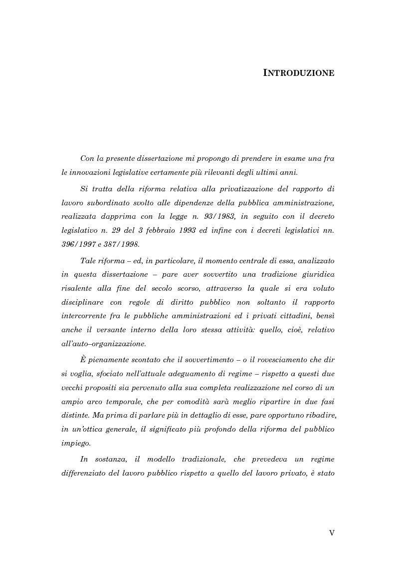Anteprima della tesi: La subordinazione nel pubblico impiego, Pagina 1