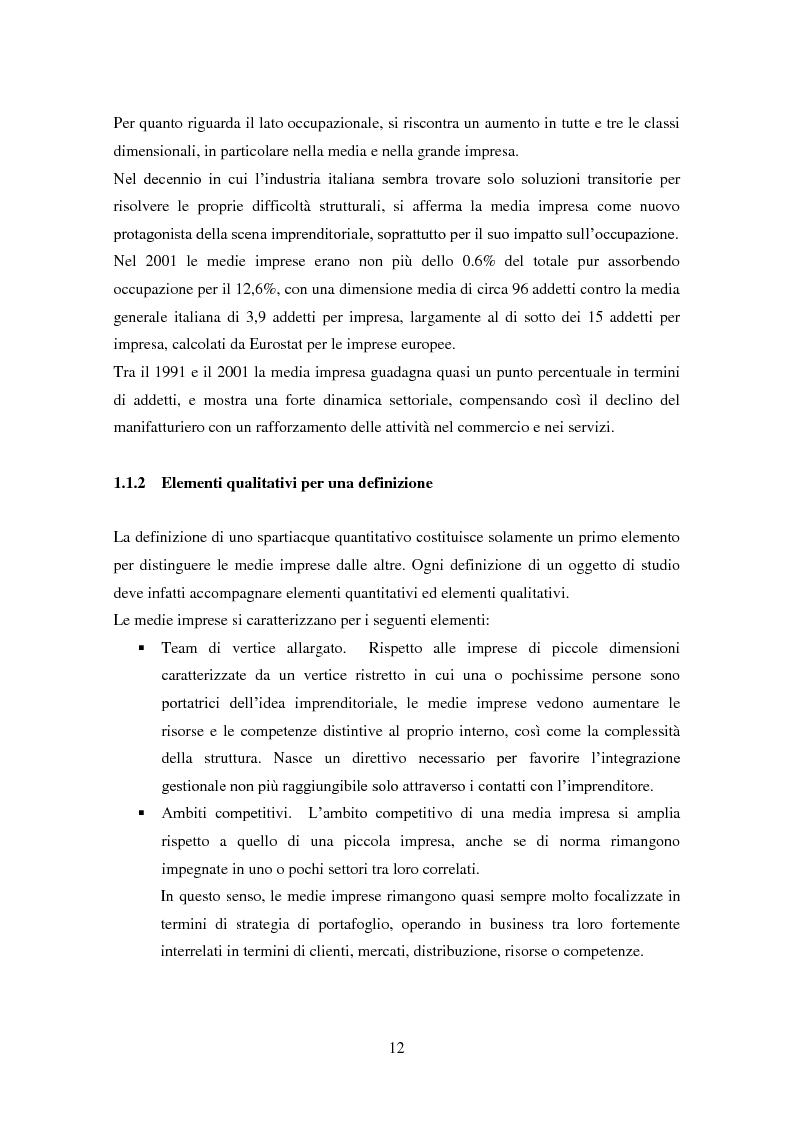 Anteprima della tesi: Le medie imprese commerciali, un'analisi di due macroaree: Nord Est e Sud Italia, Pagina 12