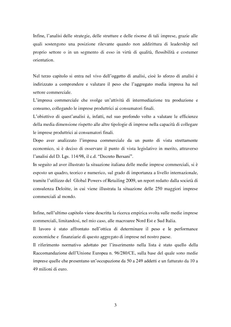 Anteprima della tesi: Le medie imprese commerciali, un'analisi di due macroaree: Nord Est e Sud Italia, Pagina 3