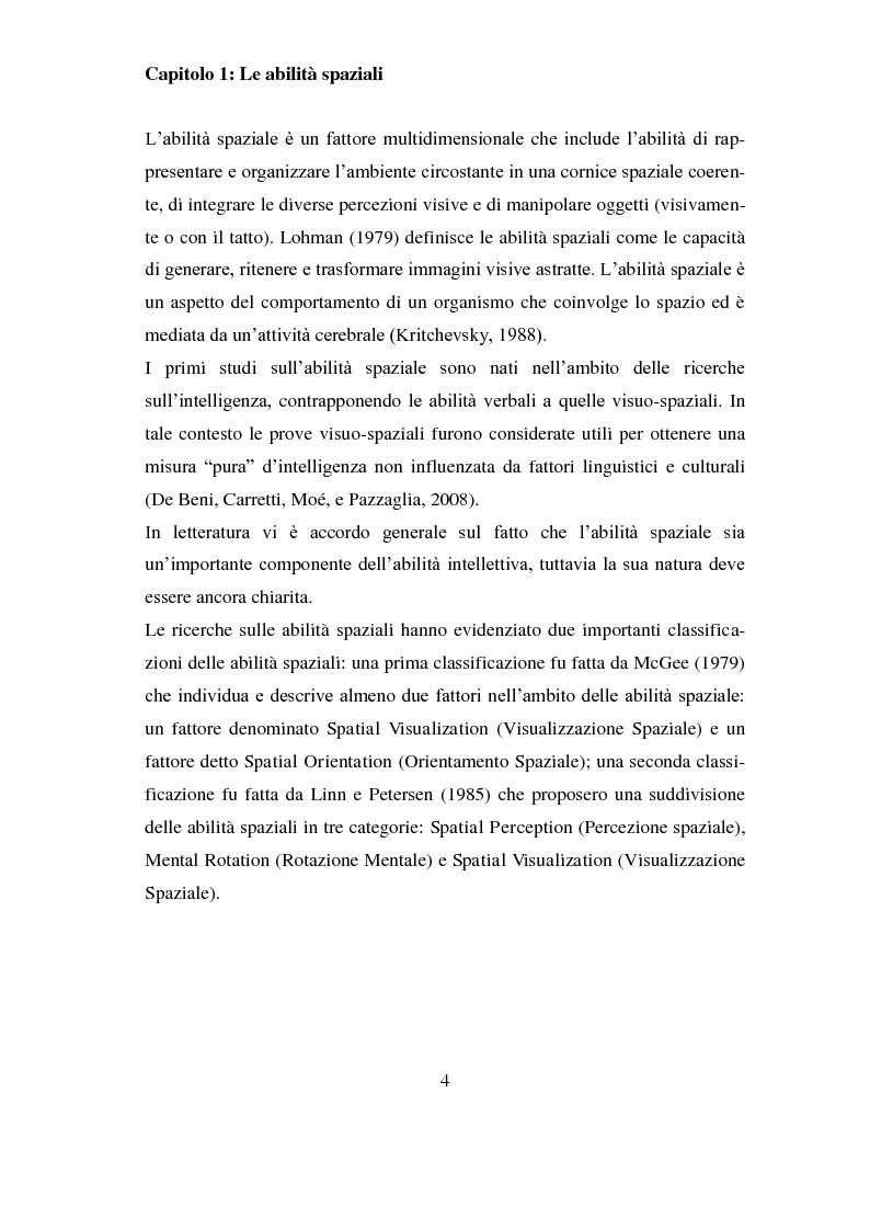 Anteprima della tesi: Analisi delle differenze di genere nelle abilità spaziali , Pagina 1