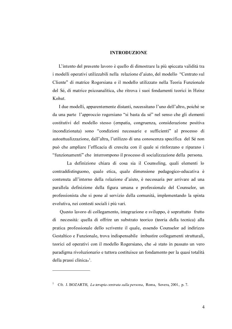 Anteprima della tesi: Il counseling centrato sulla persona. Per una lettura pedagogica della relazione d'aiuto., Pagina 1