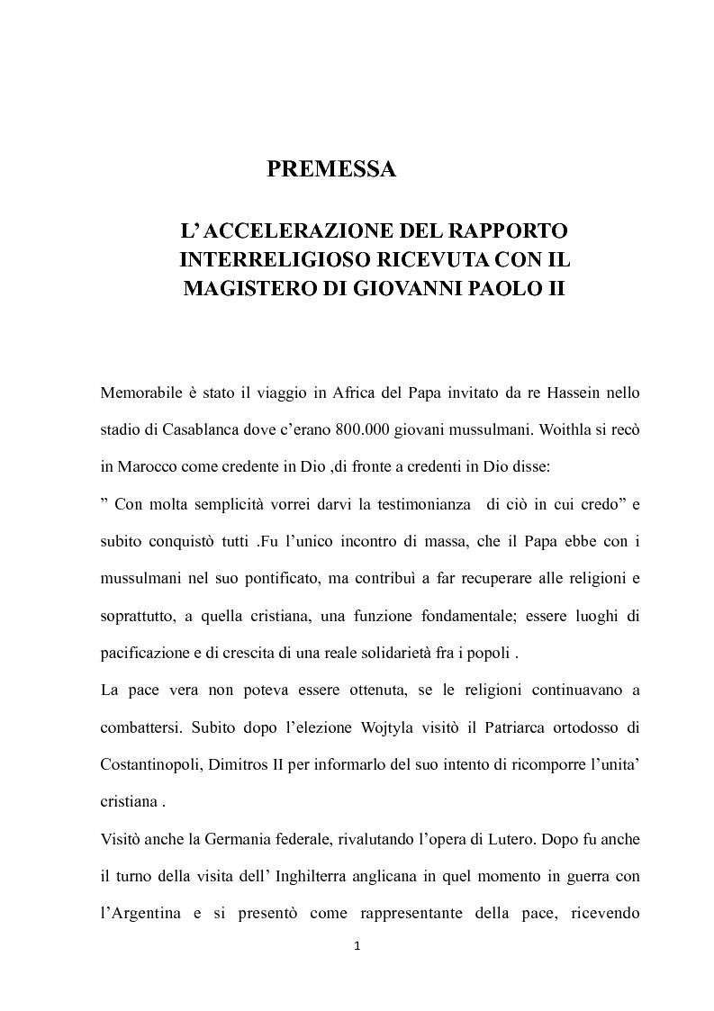 Anteprima della tesi: Fondamenti pedagogici nel dialogo interreligioso dell'opera di Giovanni Paolo II, Pagina 1