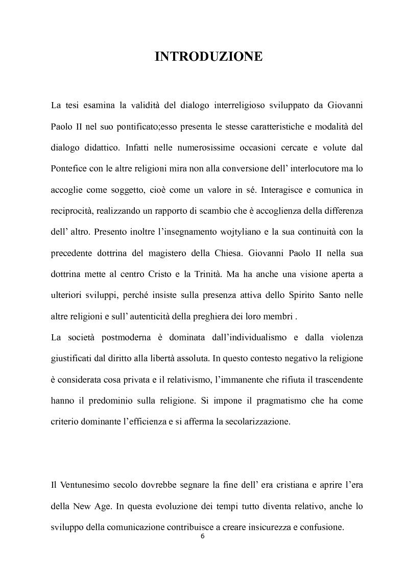 Anteprima della tesi: Fondamenti pedagogici nel dialogo interreligioso dell'opera di Giovanni Paolo II, Pagina 6