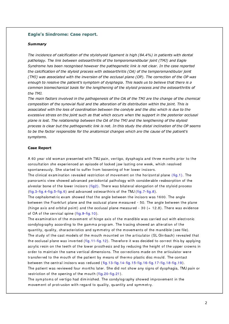 Anteprima della tesi: Eagle Syndrome: Case Report, Pagina 1