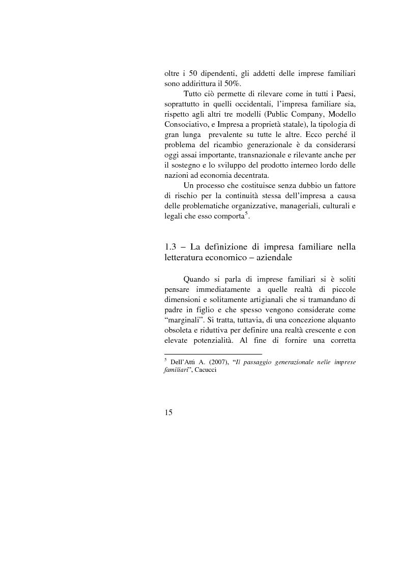 Anteprima della tesi: Il passaggio generazionale nel family business. Strumenti tecnico-giuridici e finanziari, Pagina 13