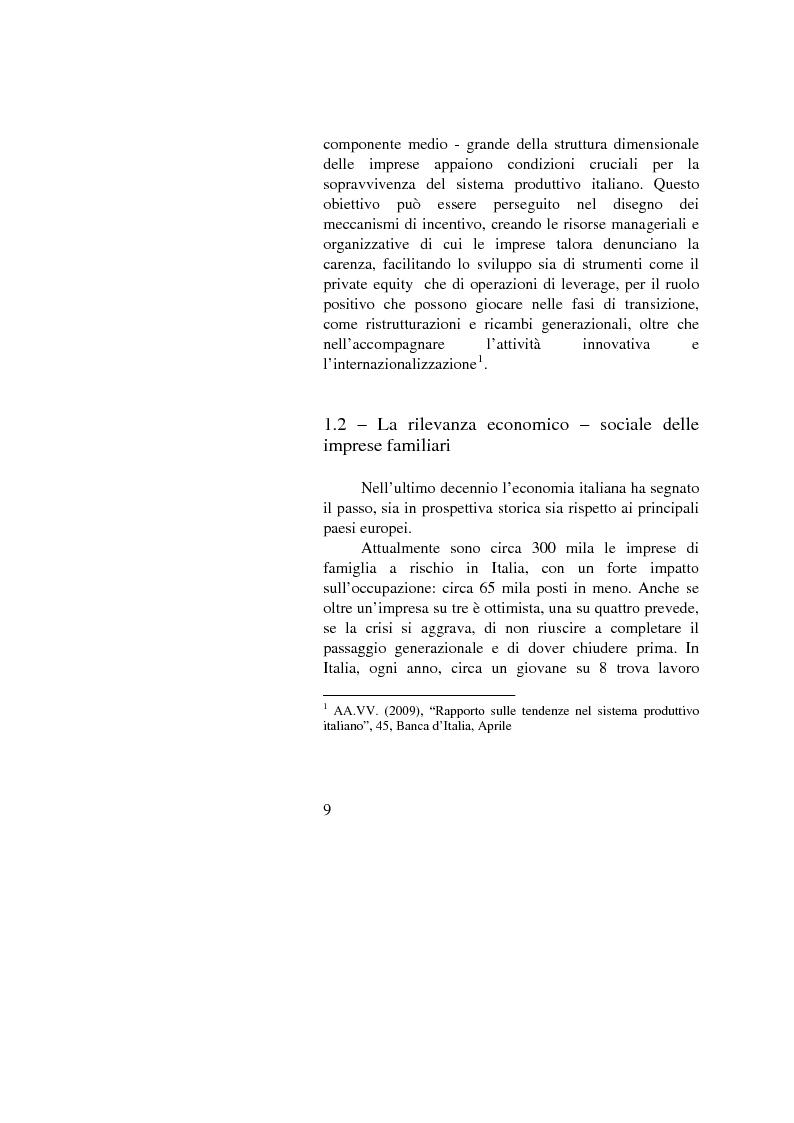 Anteprima della tesi: Il passaggio generazionale nel family business. Strumenti tecnico-giuridici e finanziari, Pagina 7