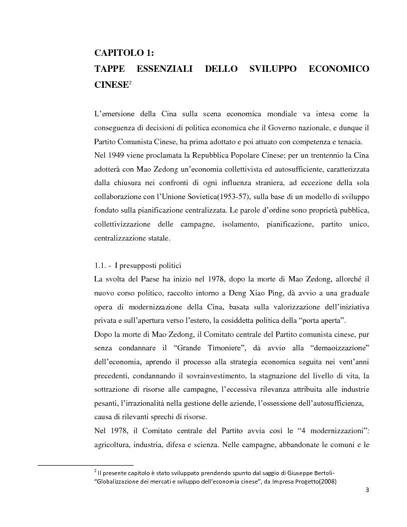 Anteprima della tesi: Lo sviluppo economico cinese: opportunità per le imprese italiane, Pagina 1