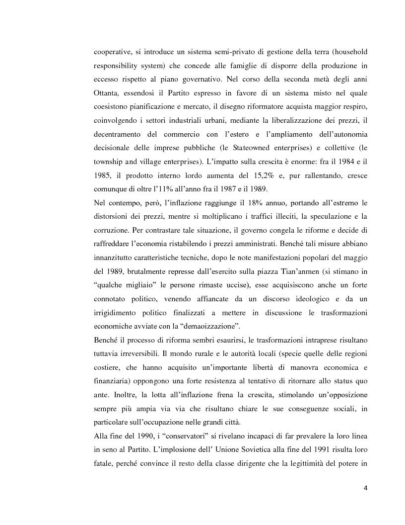 Anteprima della tesi: Lo sviluppo economico cinese: opportunità per le imprese italiane, Pagina 2