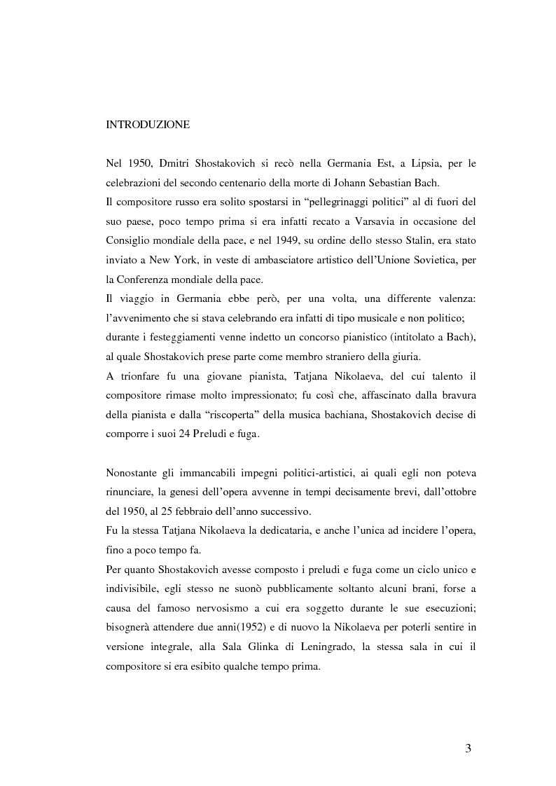 Anteprima della tesi: I 24 preludi e fuga di Dmitri Shostakovich, Pagina 1