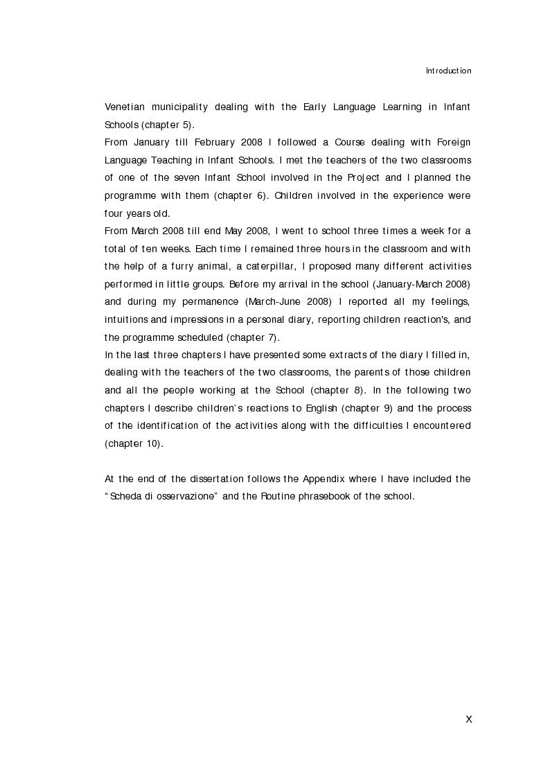 Anteprima della tesi: L'approccio alla lingua straniera nella scuola dell'infanzia: l'esperienza raccontata attraverso il diario di bordo, Pagina 2