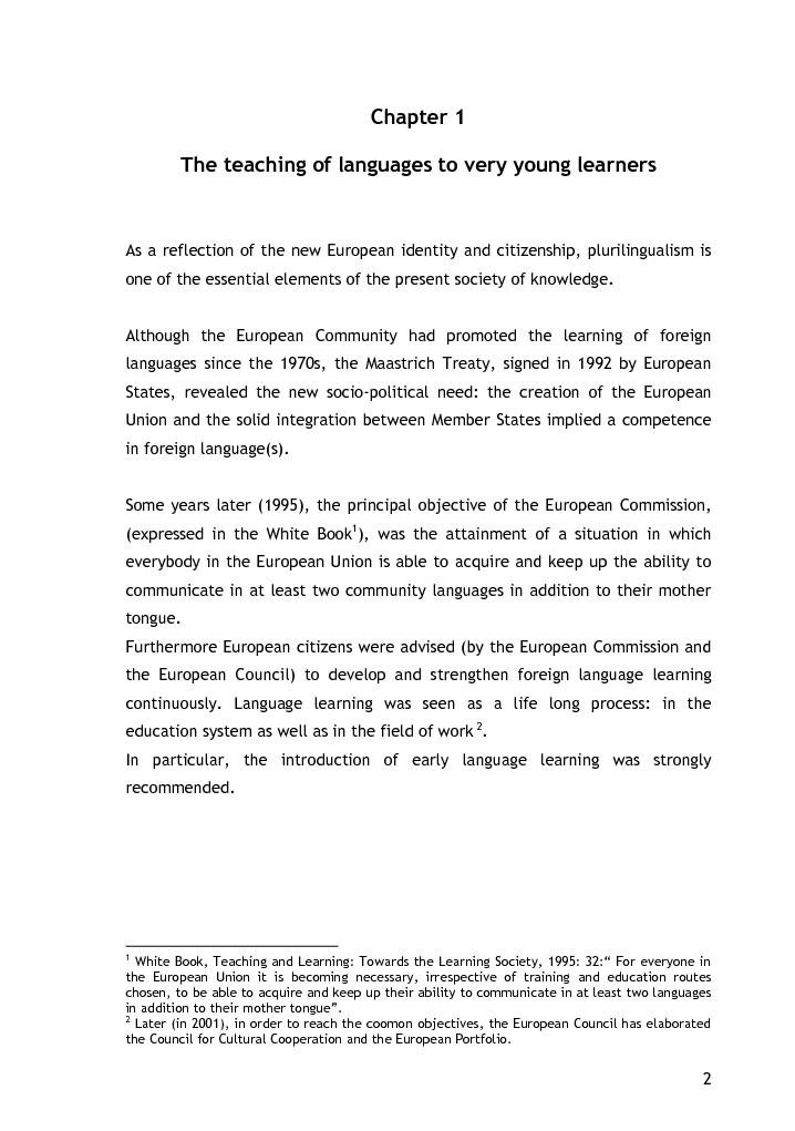 Anteprima della tesi: L'approccio alla lingua straniera nella scuola dell'infanzia: l'esperienza raccontata attraverso il diario di bordo, Pagina 4