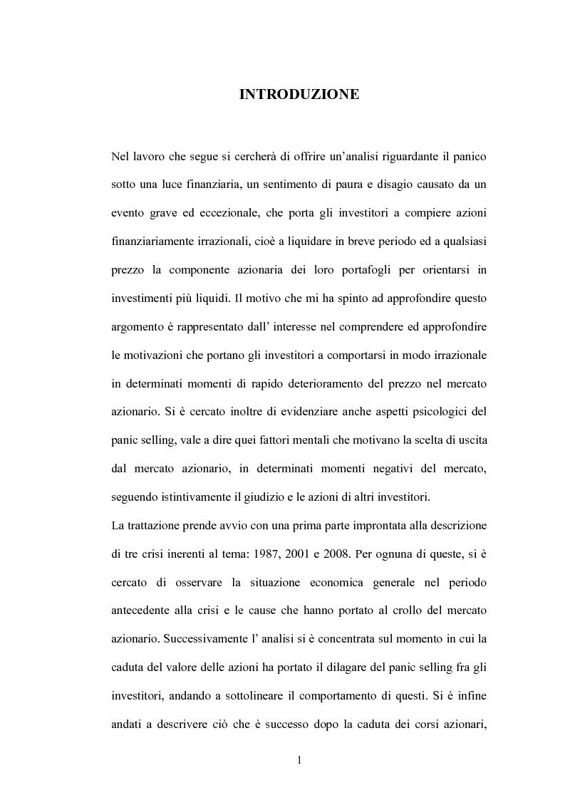 Anteprima della tesi: Il Panic Selling. Dinamiche dei momenti di panico finanziario, Pagina 1