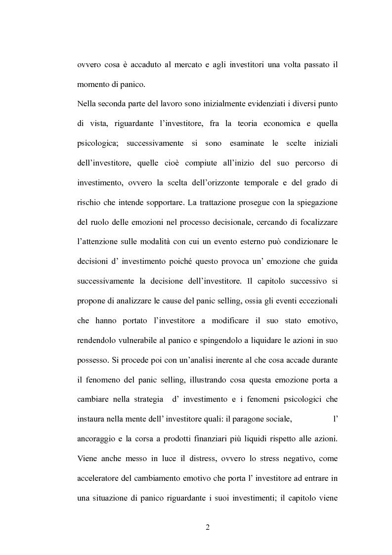 Anteprima della tesi: Il Panic Selling. Dinamiche dei momenti di panico finanziario, Pagina 2