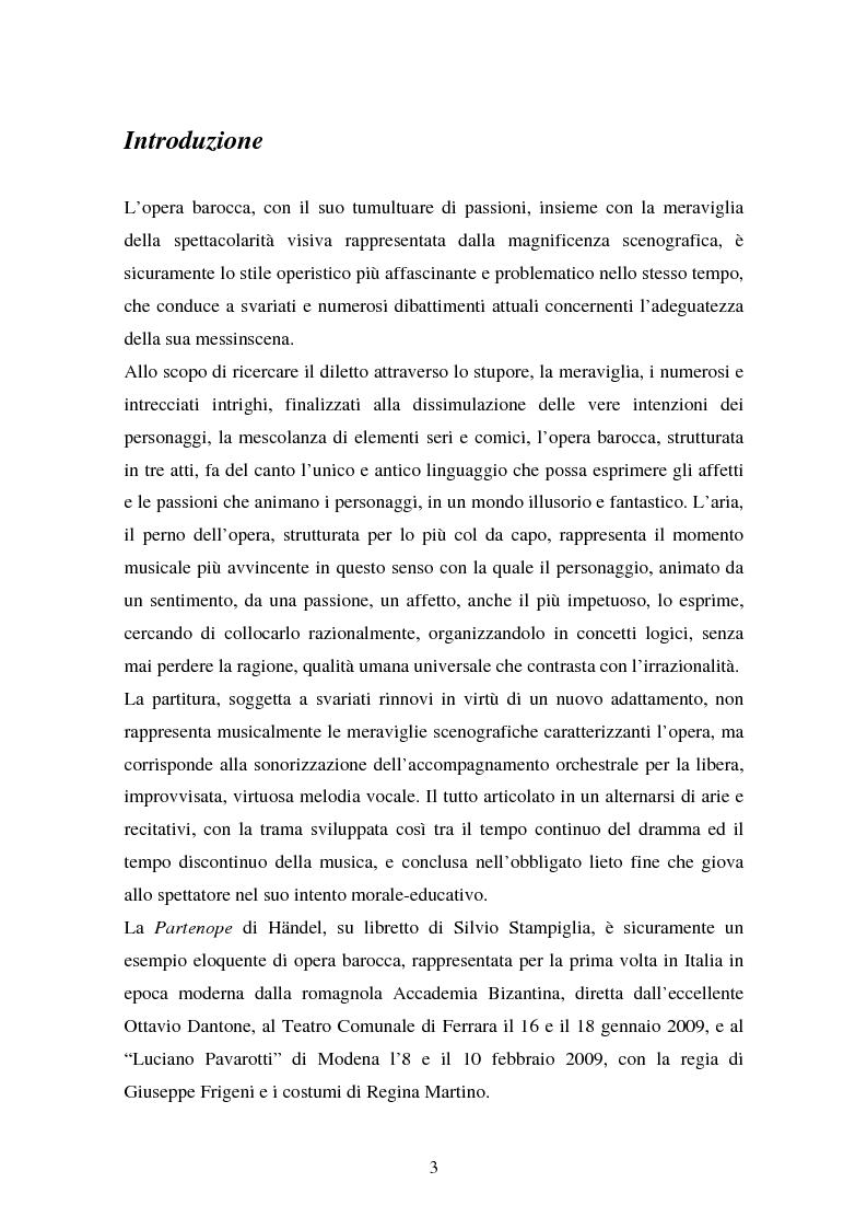 Anteprima della tesi: La Partenope di Handel: un esempio di messinscena moderna di un'opera barocca, Pagina 1