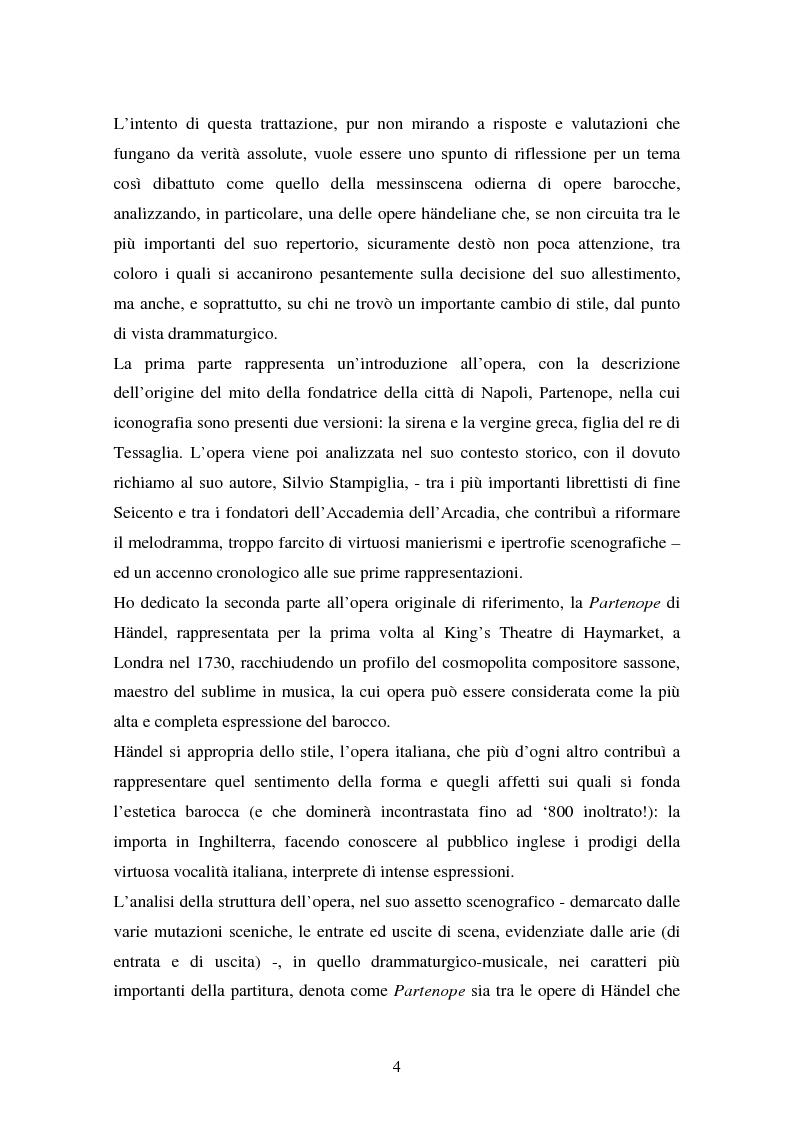 Anteprima della tesi: La Partenope di Handel: un esempio di messinscena moderna di un'opera barocca, Pagina 2