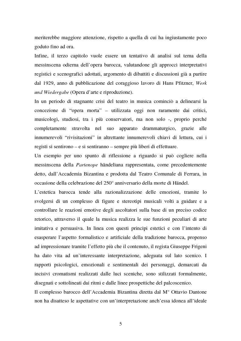 Anteprima della tesi: La Partenope di Handel: un esempio di messinscena moderna di un'opera barocca, Pagina 3