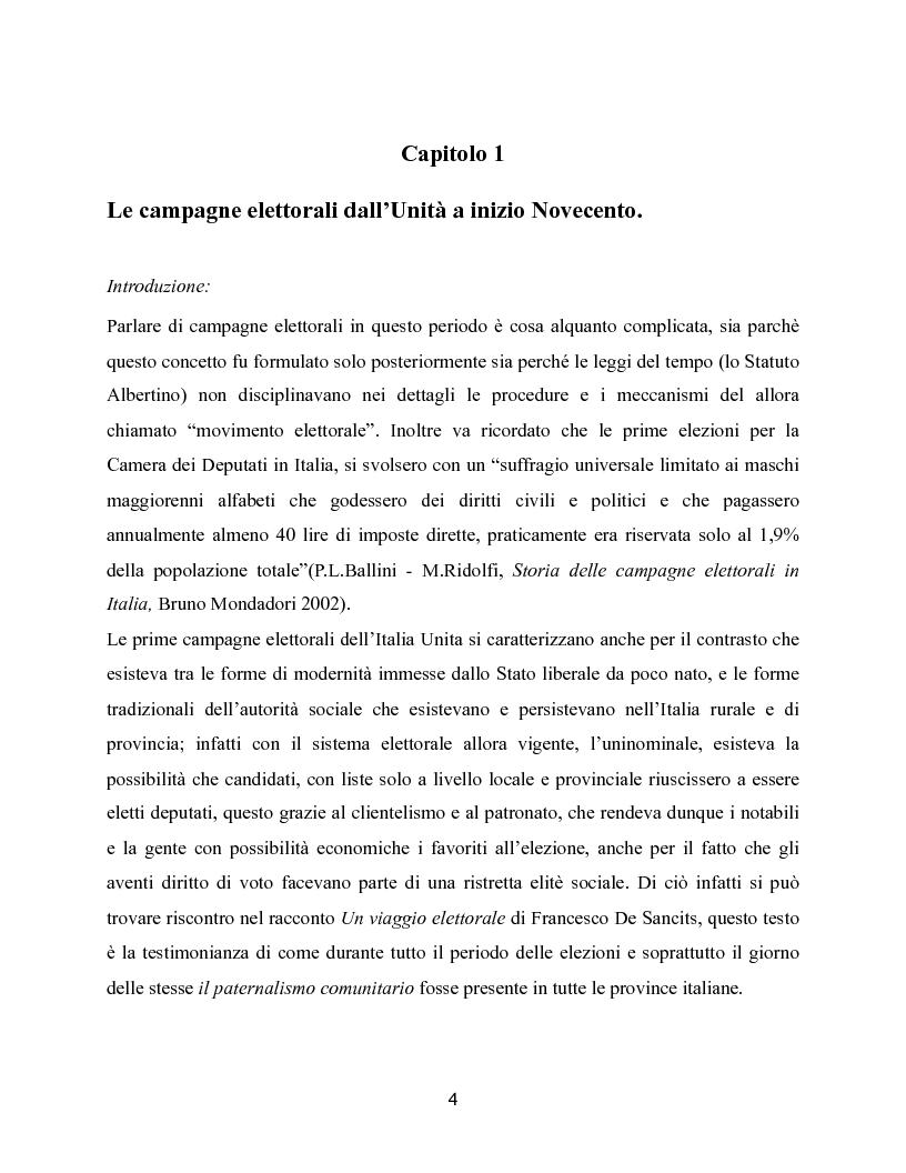 Anteprima della tesi: Trasformazioni delle campagne elettorali in Italia, Pagina 1