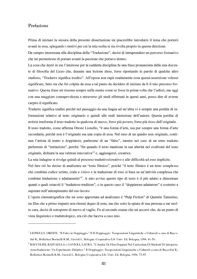 """Anteprima della tesi: Strategie e funzioni della traduzione cinematografica di un """"cult movie"""", Pagina 1"""