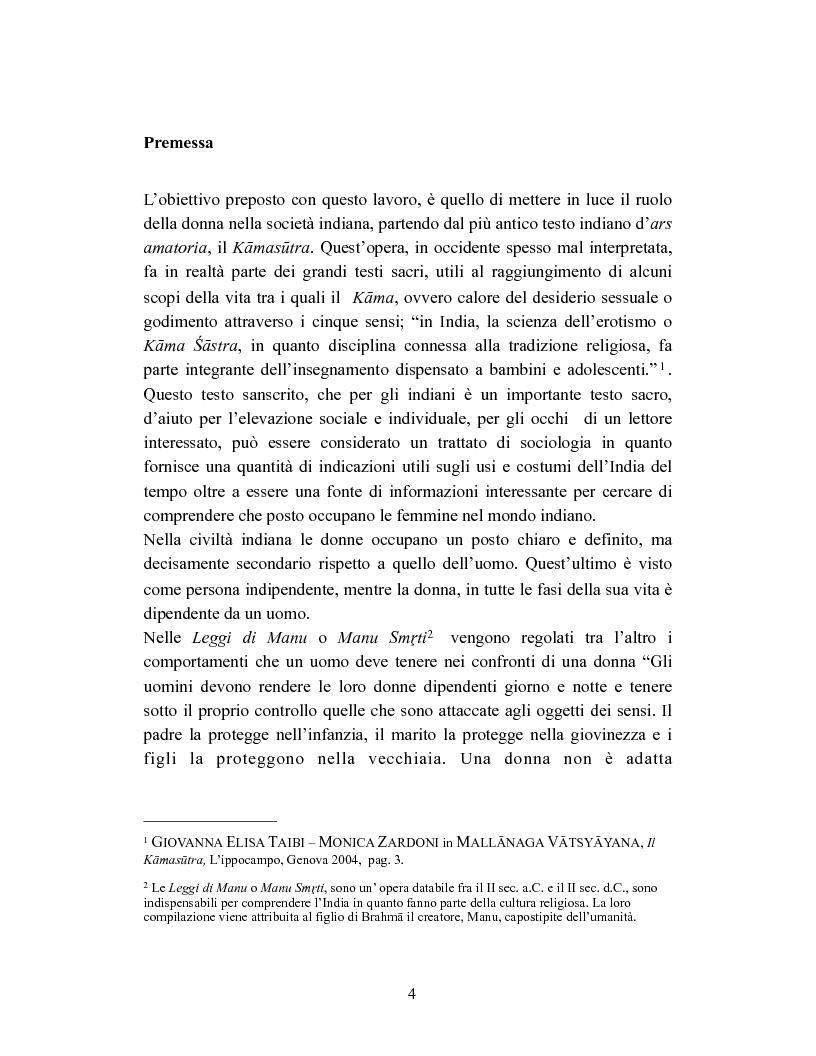 Anteprima della tesi: La donna in India secondo il Kamasutra di Vatsyayana, Pagina 1