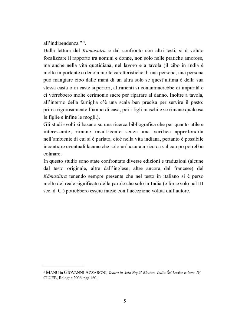 Anteprima della tesi: La donna in India secondo il Kamasutra di Vatsyayana, Pagina 2