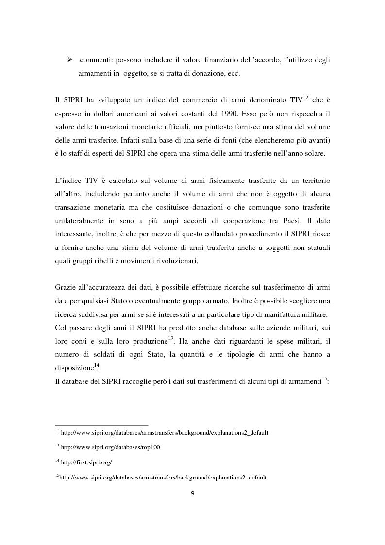 Anteprima della tesi: Il ruolo dell'Italia nel commercio internazionale di armi, Pagina 8