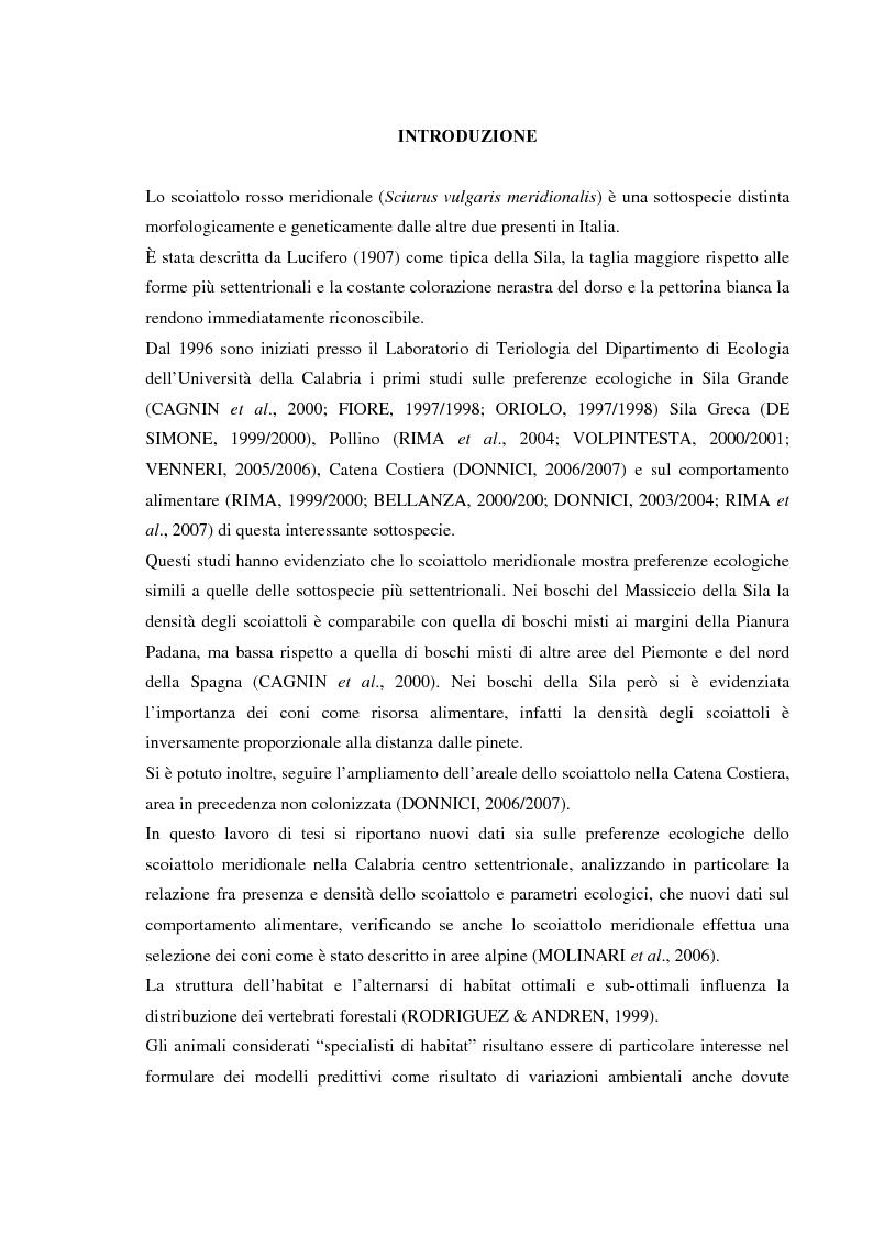 Anteprima della tesi: Nuovi dati sul comportamento di Sciurus vulgaris merdionalis in Calabria, Pagina 1