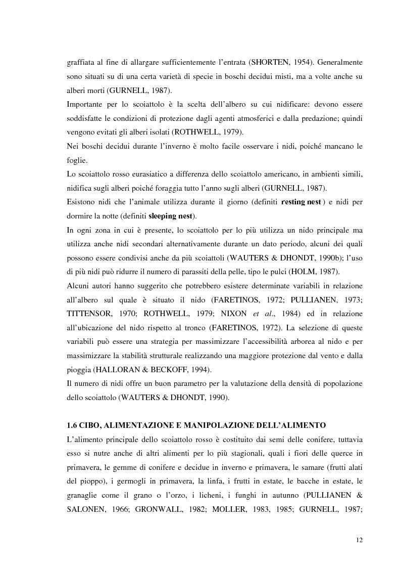 Anteprima della tesi: Nuovi dati sul comportamento di Sciurus vulgaris merdionalis in Calabria, Pagina 12