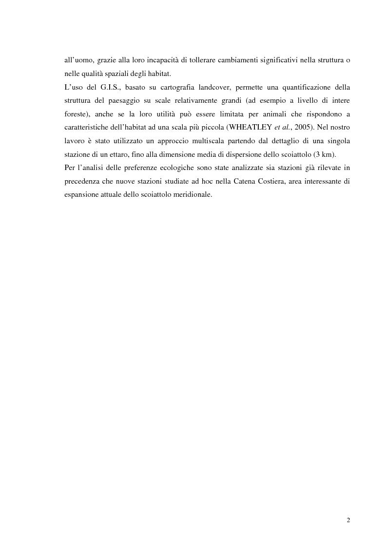 Anteprima della tesi: Nuovi dati sul comportamento di Sciurus vulgaris merdionalis in Calabria, Pagina 2