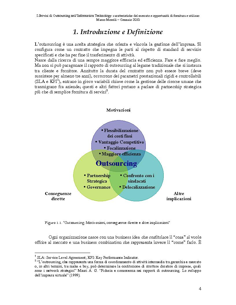 Anteprima della tesi: I Servizi di Outsourcing nell'Information Technology: caratteristiche del mercato e opportunità di fornitura e utilizzo, Pagina 1