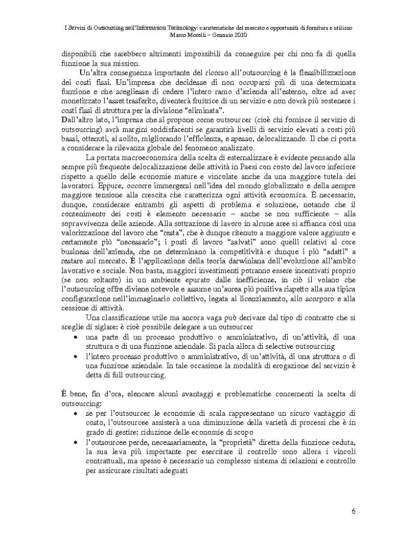 Anteprima della tesi: I Servizi di Outsourcing nell'Information Technology: caratteristiche del mercato e opportunità di fornitura e utilizzo, Pagina 3