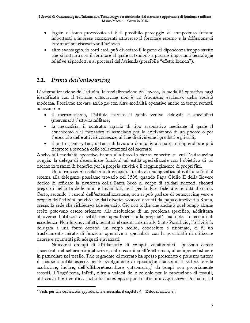 Anteprima della tesi: I Servizi di Outsourcing nell'Information Technology: caratteristiche del mercato e opportunità di fornitura e utilizzo, Pagina 4