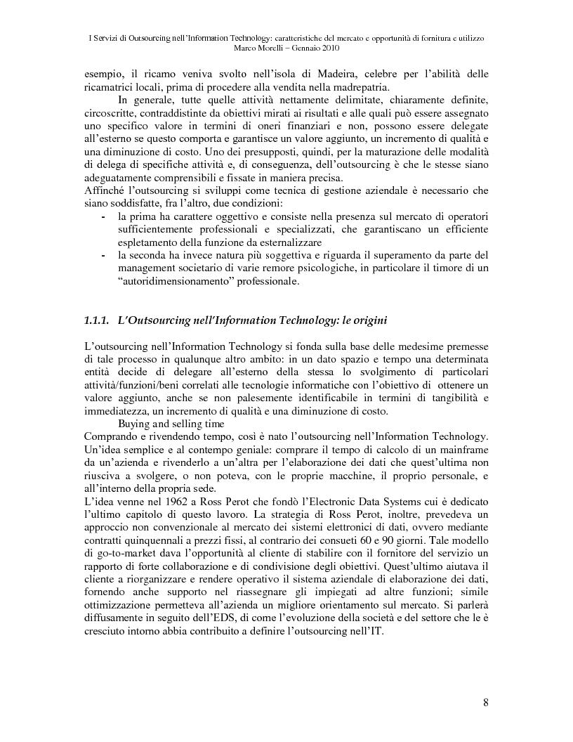 Anteprima della tesi: I Servizi di Outsourcing nell'Information Technology: caratteristiche del mercato e opportunità di fornitura e utilizzo, Pagina 5