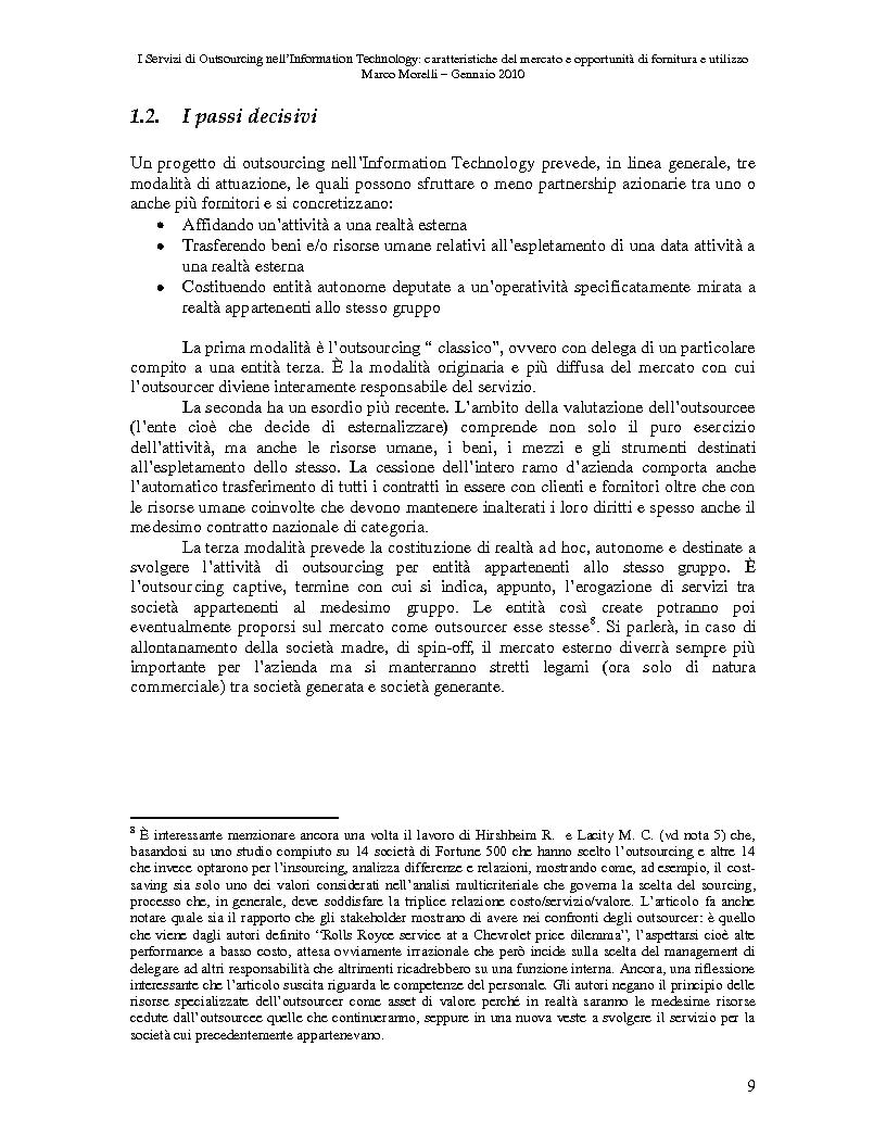 Anteprima della tesi: I Servizi di Outsourcing nell'Information Technology: caratteristiche del mercato e opportunità di fornitura e utilizzo, Pagina 6
