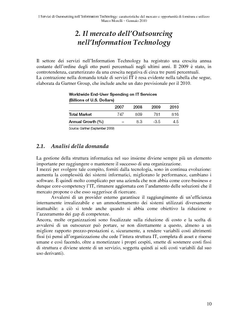 Anteprima della tesi: I Servizi di Outsourcing nell'Information Technology: caratteristiche del mercato e opportunità di fornitura e utilizzo, Pagina 7
