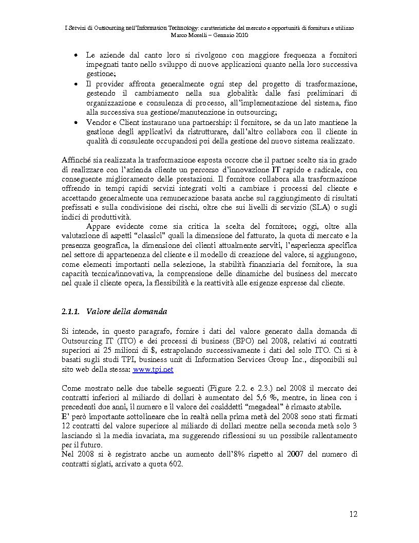 Anteprima della tesi: I Servizi di Outsourcing nell'Information Technology: caratteristiche del mercato e opportunità di fornitura e utilizzo, Pagina 9