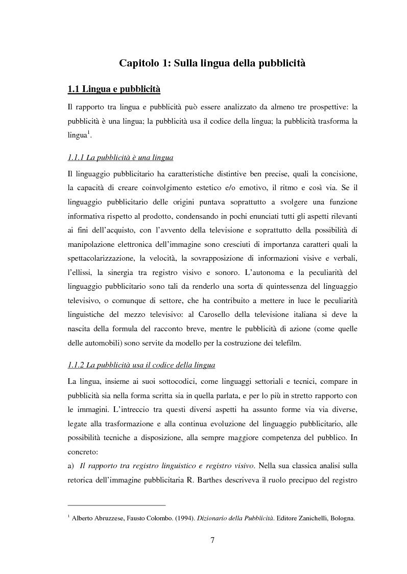 Anteprima della tesi: Ispanismi e ispanoamericanismi nella publicità italiana di oggi, Pagina 1