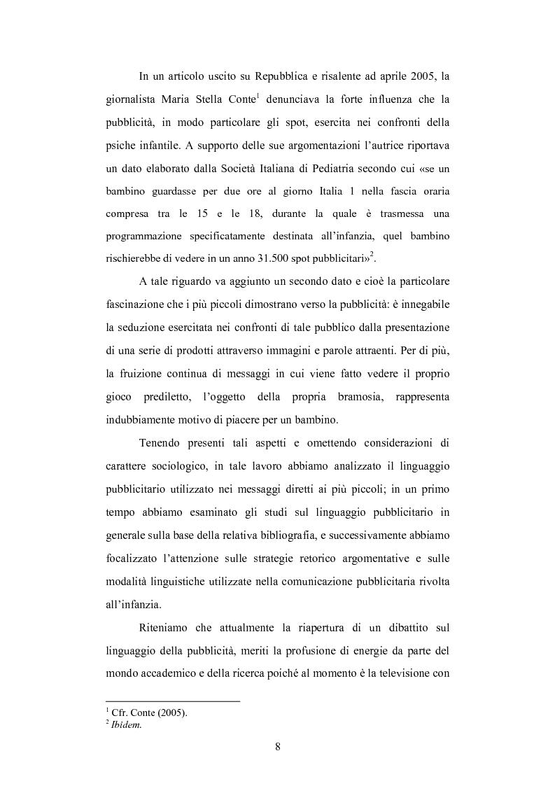 Anteprima della tesi: Strategie linguistiche e retoriche della comunicazione pubblicitaria rivolta ai bambini, Pagina 2