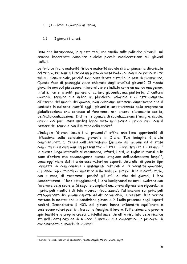Anteprima della tesi: Le politiche giovanili: per i giovani e con i giovani, Pagina 1