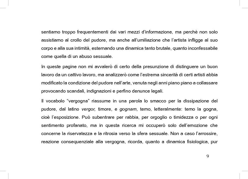Anteprima della tesi: La perdita del pudore nell'arte contemporanea, Pagina 5