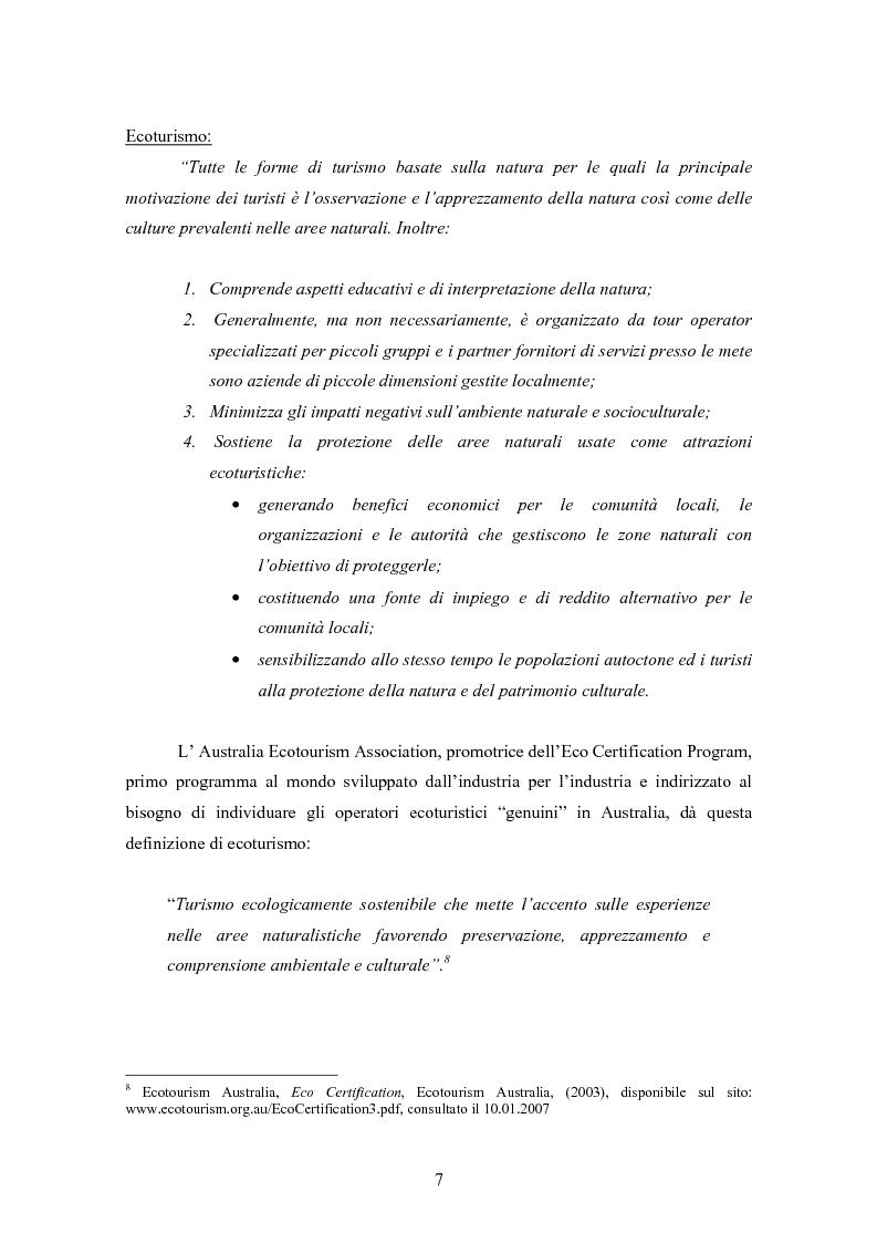 Anteprima della tesi: Ecoturismo e accordi volontari, Pagina 7