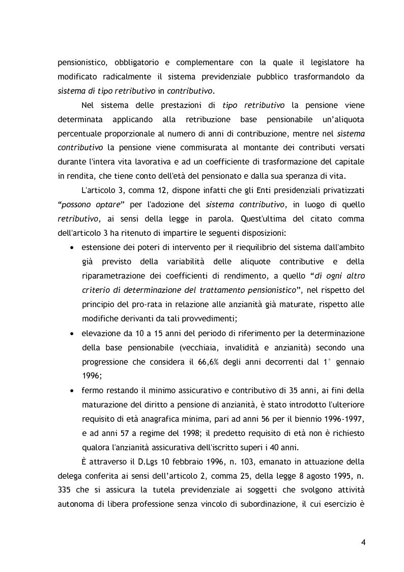 Anteprima della tesi: La cassa di previdenza dei dottori commercialisti: il bilancio tecnico attuariale, la riforma del sistema pensionistico., Pagina 2