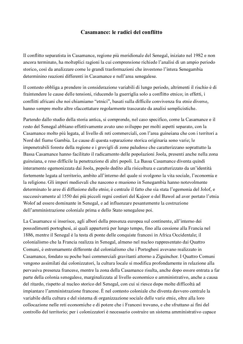 Anteprima della tesi: Casamance: le radici del conflitto, Pagina 1