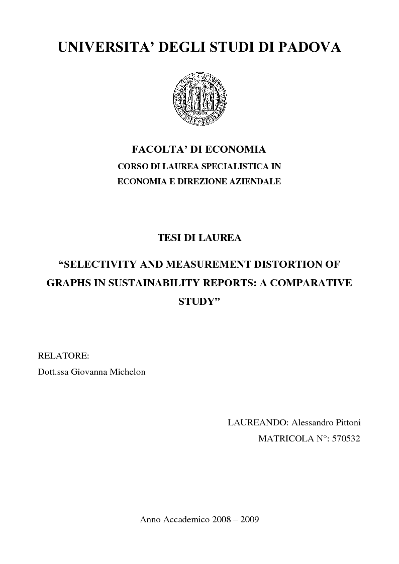 Anteprima della tesi: Selectivity and Measurement Distortion of Graphs in Sustainability Reports: A Comparative Study, Pagina 1