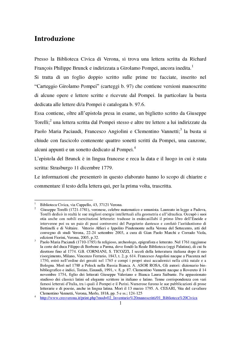 Anteprima della tesi: Lettera di François Philippe Brunck a Girolamo Pompei, Pagina 1